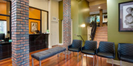 Lobby of Orthodontic office with two stories Greensboro
