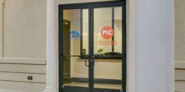 Front doors vinyl orthodontist office