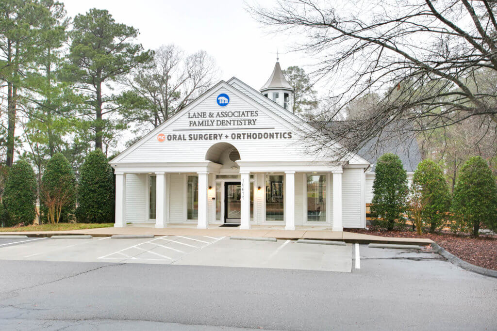 Southern Pines NC Orthodontist and Oral Surgeon Exterior of Building White with triangular shaped roof