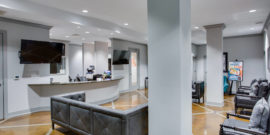 Orthodontic Lobby with Gray Leather Couches
