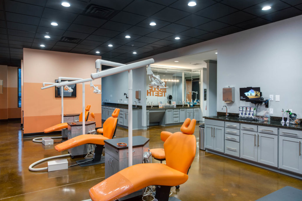 Cary Orthodontist Ortho Bay off of Maynard Rd with Orange Chairs
