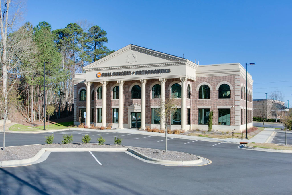 Cary NC Orthodontist and Oral Surgeon Office Exterior Brick with Columns