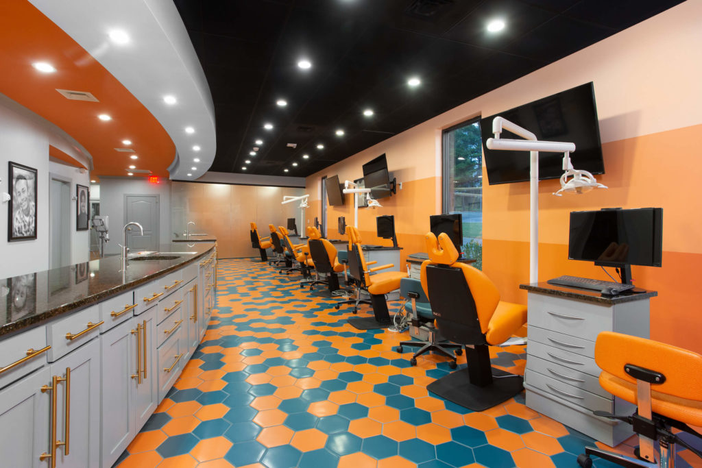 Ortho Bay with Orange and Teal floor tiles